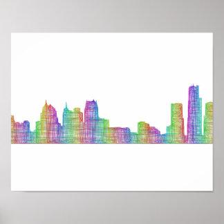 Poster Horizon de ville de Detroit