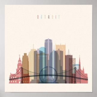 Poster Horizon de ville de Detroit, Michigan |