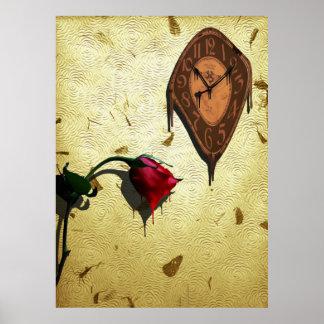 Poster Horloge d'égoutture et rose rouge simple