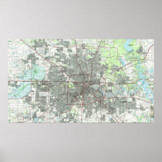 Poster Houston le Texas Map (1992)
