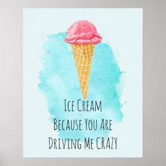 Poster Humour drôle de plaisanterie de calembour de crème
