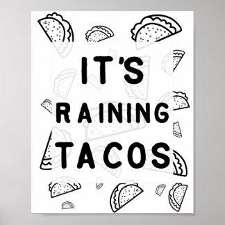 Poster Il pleut l'affiche de tacos