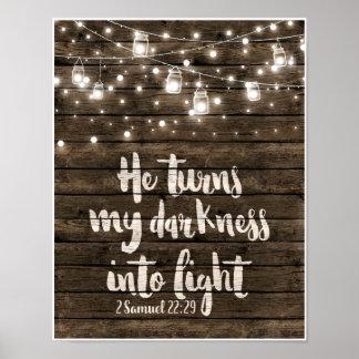 Poster Il transforme mon obscurité en lumière
