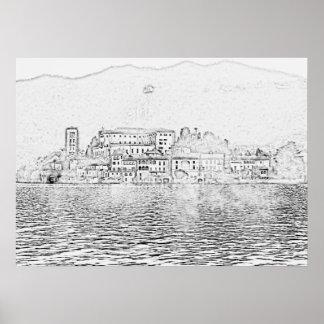 Poster Île de San Giulio, lac Orta, Italie