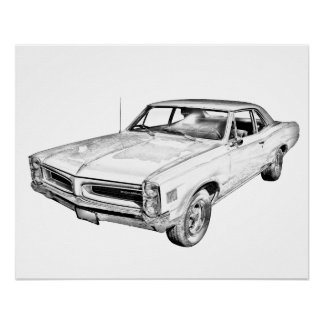 Poster Illustration 1966 de voiture de muscle de Pontiac