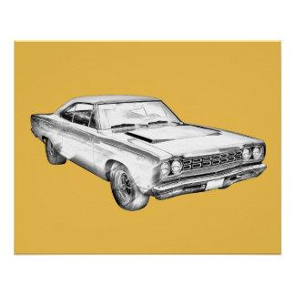 Poster Illustration 1968 de voiture de muscle de
