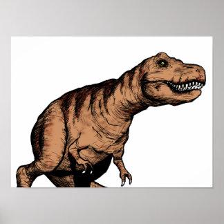 Poster Illustration à l'encre de T-Rex