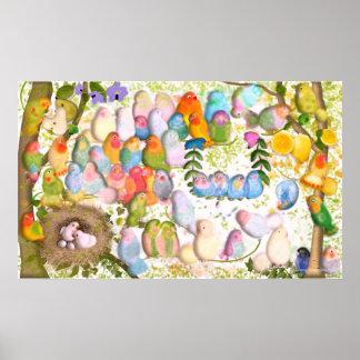 Poster Illustration d'art de perruches par des