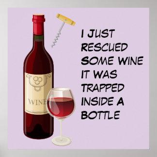 Poster Illustration de bouteille et en verre de vin
