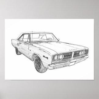 Poster Illustration de style de crayon de 1966 Dodge