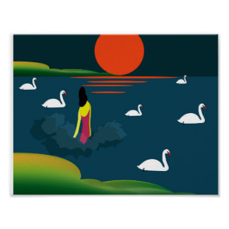 Poster illustration d'une femme entrant dans le lac
