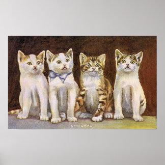 Poster Illustration mignonne de cru de quatre chatons