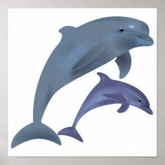 Poster Illustration sautante de dauphins