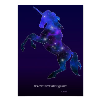 Poster Image scintillante de belle licorne rose de