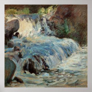 Poster Impressionisme vintage, la cascade par Twachtman