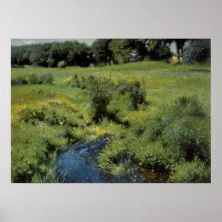 Poster Impressionisme vintage, la piscine Medfield par la