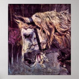 Poster Impressionisme vintage, tête d'un cheval par