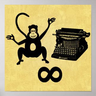 Poster Infini drôle de machine à écrire de singe d'auteur