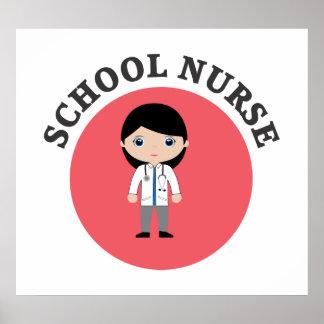 Poster Infirmière d'école en cercle rouge