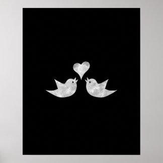 Poster Inséparables avec la couleur de coutume de coeur
