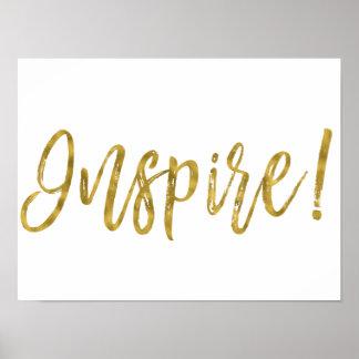 Poster Inspirez la feuille d'or et le mot inspiré blanc