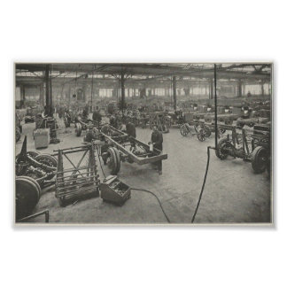 Poster Installation industrielle de 1916 automobiles