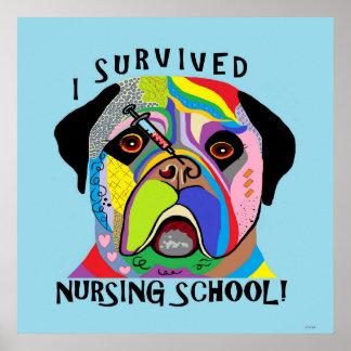 Poster J'ai survécu à l'école d'infirmières