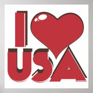 Poster J'aime les Etats-Unis rétro 80s