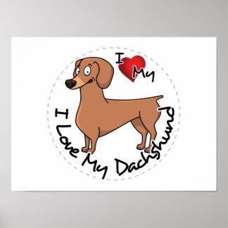 Poster J'aime mon chien de basset allemand