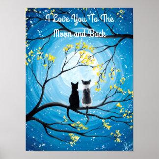 Poster Je t'aime à la lune et au chat arrière