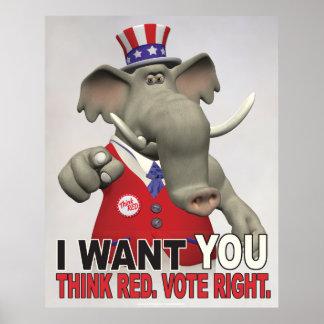 Poster Je vous veux - pensez la droite rouge de vote