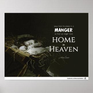 Poster Jésus a pris sa place dans une mangeoire