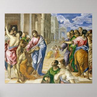 Poster Jésus-Christ guérissant les aveugles