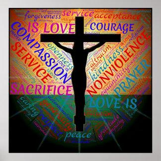 Poster Jésus sur la croix, non violence, affiche
