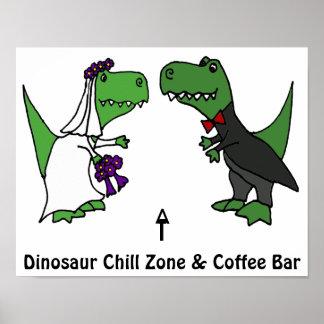 Poster Jeunes mariés drôles de dinosaure de T-rex