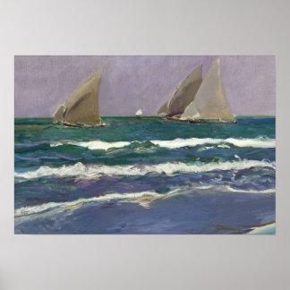 Poster Joaquin Sorolla - voiles de bateau en mer