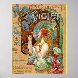 Poster Jolie fille et annonce violette de parfum