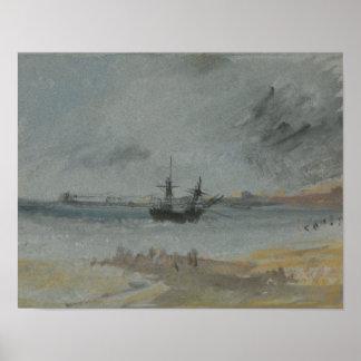 Poster Joseph Mallord William Turner - bateau échoué