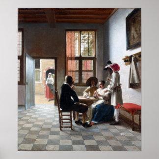 Poster Joueurs de carte de Pieter de Hooch dans une salle