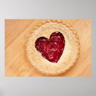 Poster jour de valentines heureux - tarte aux cerises