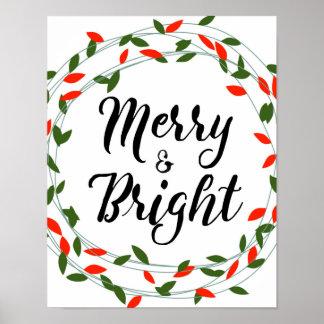 Poster Joyeuse et lumineuse - Noël - affiche