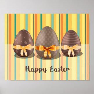 Poster Joyeuses Pâques colorées, oeufs de Choco pâques