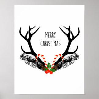 Poster Joyeux Noël - andouillers de cerfs communs -