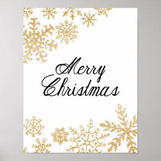 Poster Joyeux Noël - flocons de neige - affiche