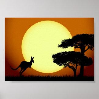 Poster Kangourou au coucher du soleil