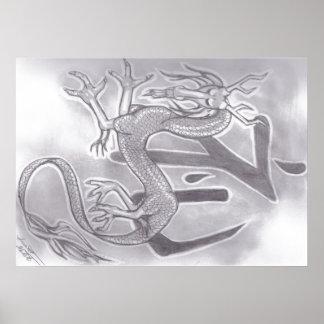 Poster kanji pour l'honneur avec un dragon