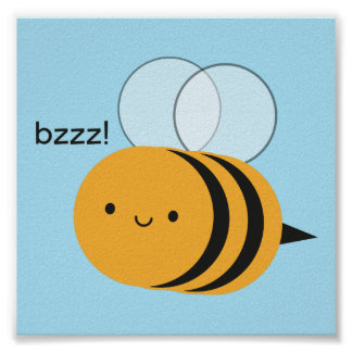 Poster Kawaii Buzzy gaffent l'abeille