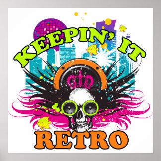 Poster Keepin il rétro crâne au néon de couronne de disco