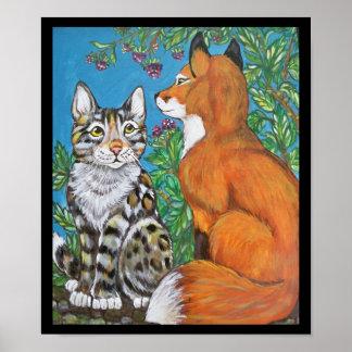 Poster Kit de Fox rouge et affiche de chat, art animal