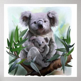 Poster Koala et son bébé